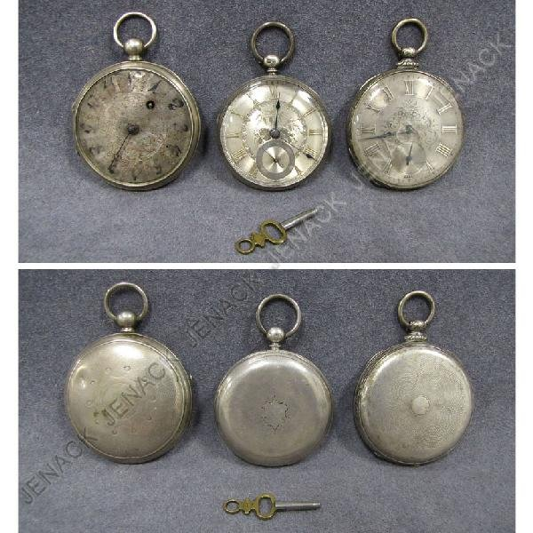 4: LOT (3) SILVER POCKET WATCHES
