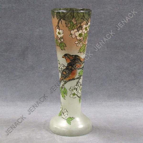6: LEGRAS ENAMELED ART GLASS BIRDS, SIGNED