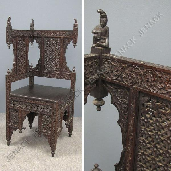 15: ANGLO INDIAN CARVED TEAK CORNER CHAIR