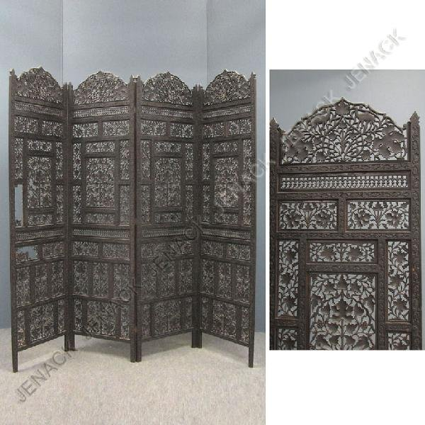 23: ANGLO-INDIAN CARVED TEAK 4-PANEL SCREEN