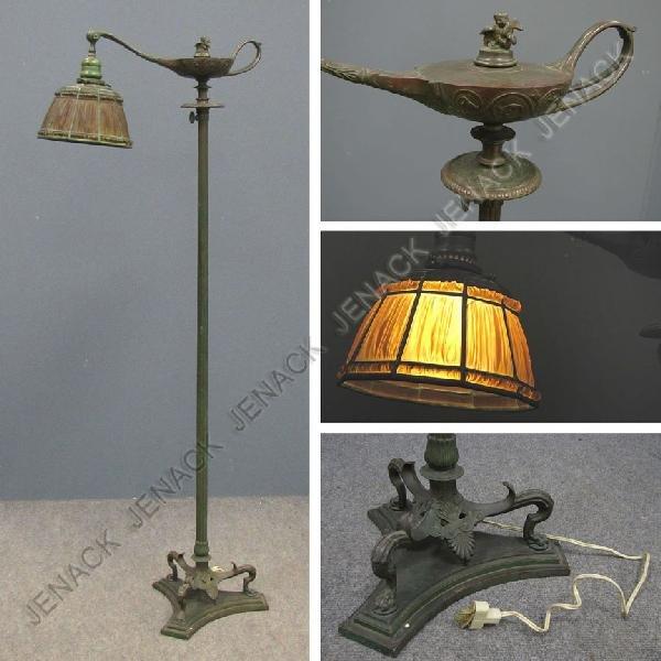 103: TIFFANY STUDIOS NEW YORK BRONZE ALADDIN FLOOR LAMP