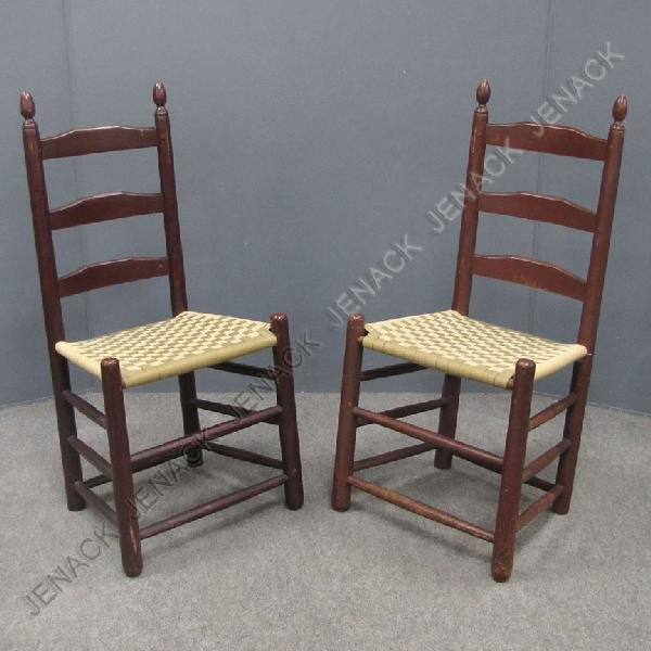 7: PAIR ASSEMBLED SHAKER LADDER BACK SIDE CHAIRS
