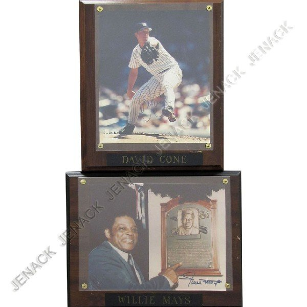 9: LOT (2) DAVID CONE & WILLIE MAYS AUTOGRAPHED PHOTO