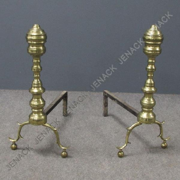 15: FEDERAL BRASS BEEHIVE ANDIRONS