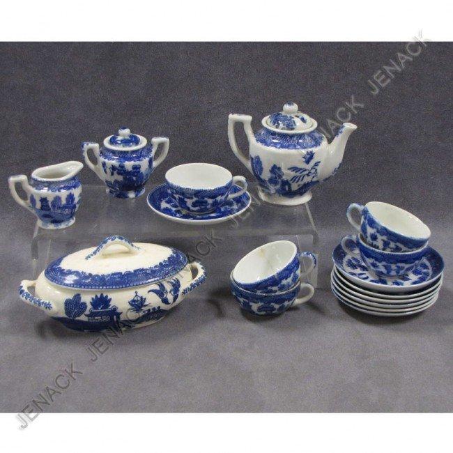 9: JAPANESE BLUE WILLOW PORCELAIN CHILD'S TEA SET