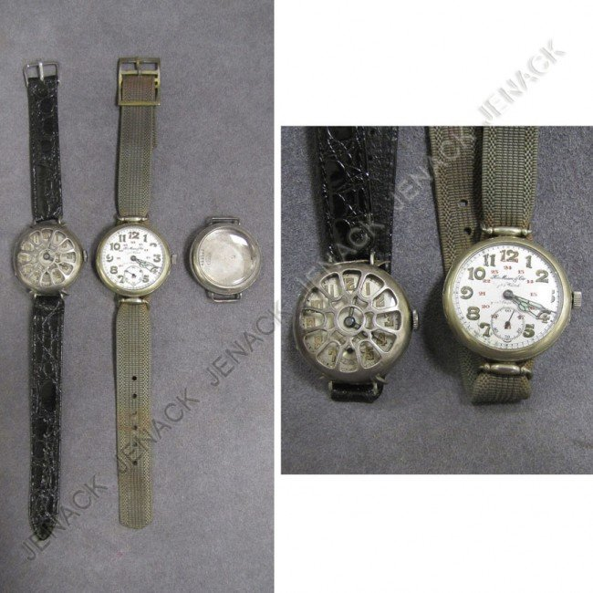 24: LOT (3) VINTAGE NICKEL MILITARY WRISTWATCHES