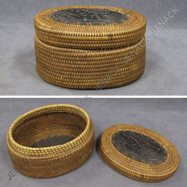 4: NORTH WEST COAST WOVEN COVERED BASKET