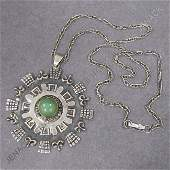 6 MEXICAN STERLING PENDANT SET GREEN HARDSTONE