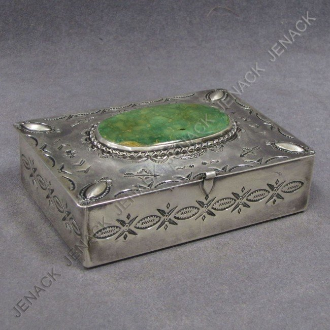12: SOUTHWEST AMERICAN INDIAN SILVER AND TURQUOISE BOX