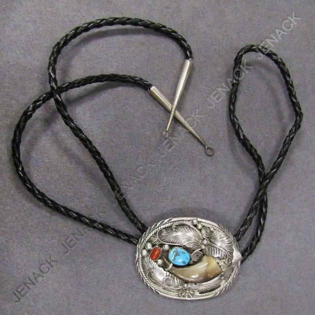 13: NAVAJO STERLING, TURQUOISE BOLO TIE