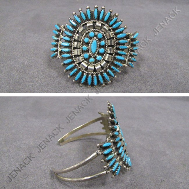 21: NAVAJO STERLING AND TURQUOISE CUFF BRACELET, SIGN