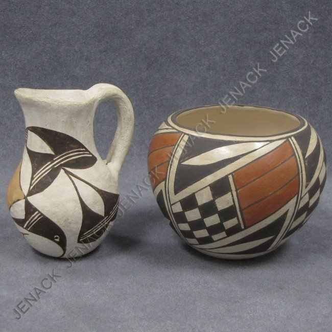 24: LOT (2) ACOMA DECORATED POTTERY INCLUDING PITCHER