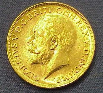 5: 1919S BRITISH COLONIAL GOLD SOVEREIGN