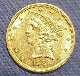 8: 1882S $5.00 CORONET HEAD GOLD