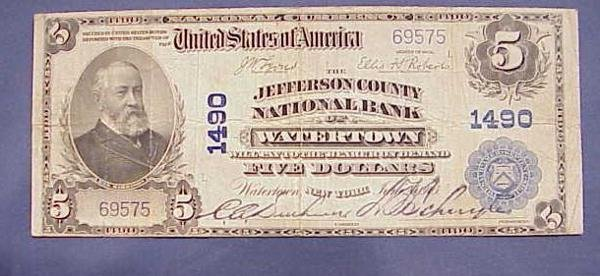 13: U.S. NATIONAL BANK $5.00 NOTE