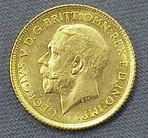 14: 1915S BRITISH COLONIAL GOLD HALF SOVEREIGN