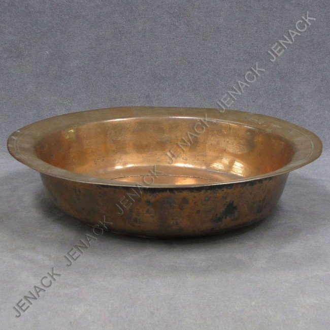 6: CONTINENTAL COPPER BAPTISMAL BASIN, SIGNED, 18THC