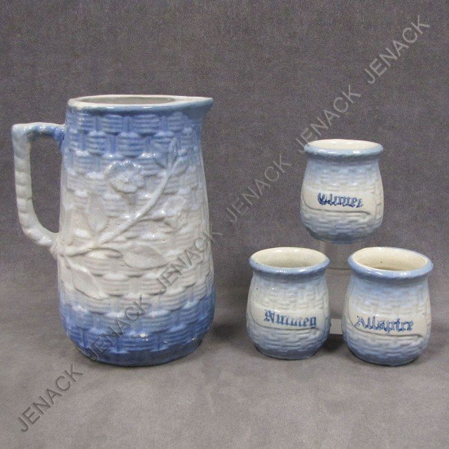 8: LOT (4) BLUE & WHITE STONEWARE-PITCHER/CANISTERS