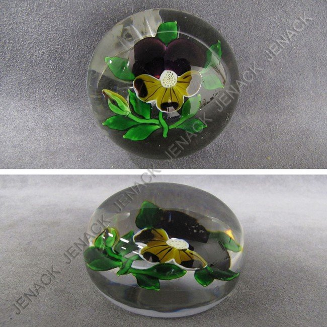 21: VINTAGE FRENCH PANSY FLORAL PAPERWEIGHT