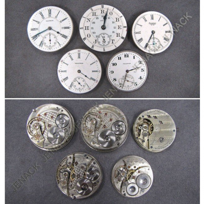 4: LOT (5) ASSORTED WALTHAM POCKET WATCH MOVEMENTS