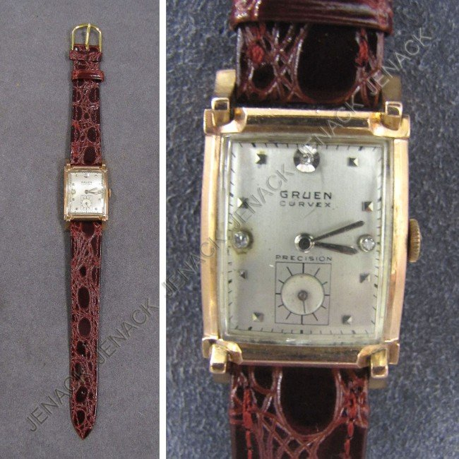 12: GRUEN 14K ROSE GOLD 17-JEWEL CURVEX WRISTWATCH
