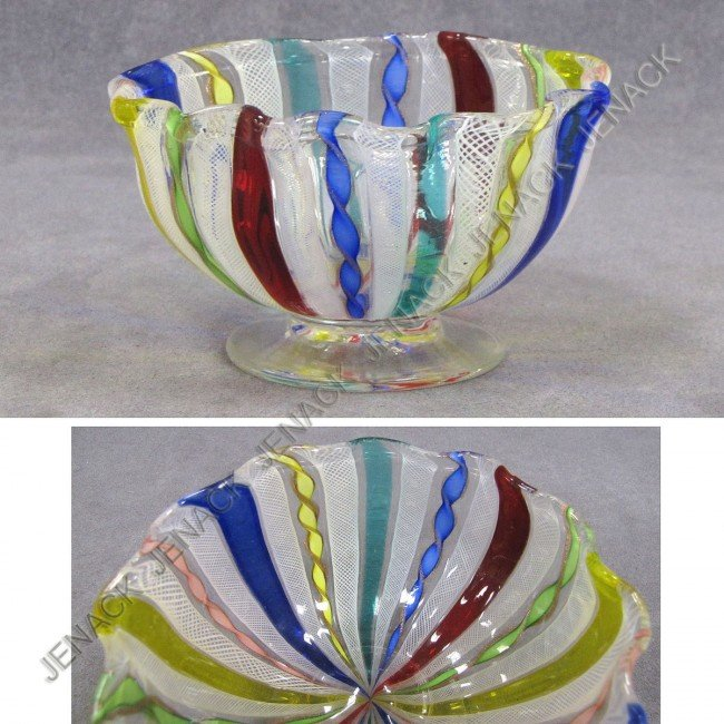 13: MURANO LATTICINO GLASS BOWL