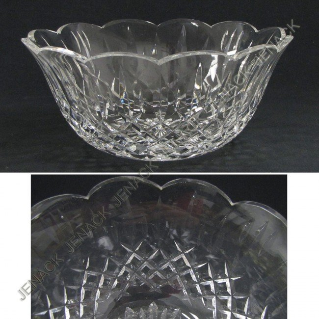 "19: WATERFORD CRYSTAL ""LISMORE"" SALAD BOWL, SIGNED"