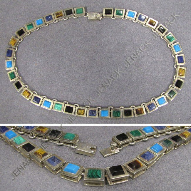 24: MEXICAN 925 SILVER HARDSTONE NECKLACE, SIGNED TILO