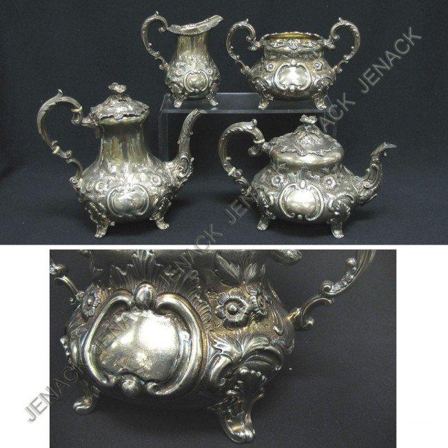 113: SET (4) LONDON STERLING TEA SET, 1853-4