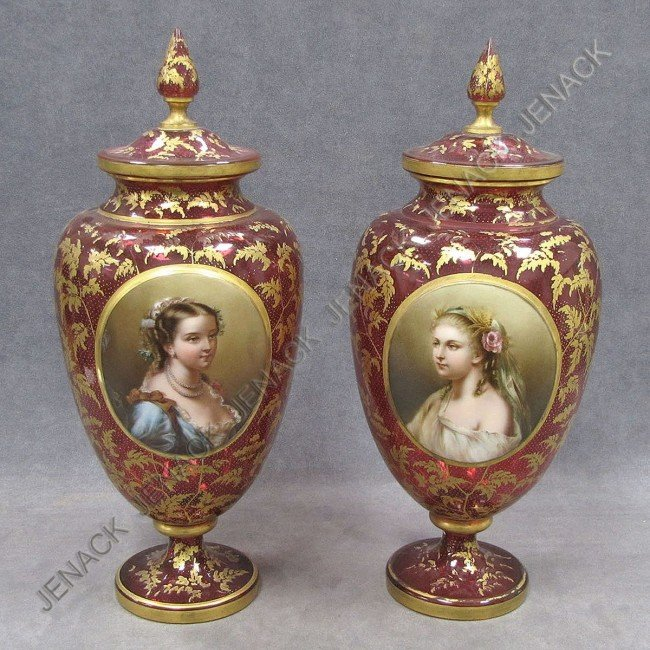 310: PAIR VICTORIAN GILT CRANBERRY GLASS URNS