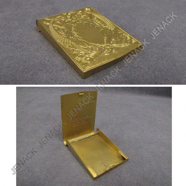 17: HANDMADE 14K YELLOW GOLD CARD HOLDER, INSCRIBED