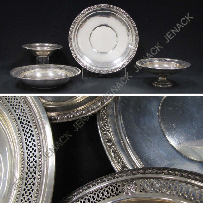 354: LOT (4) ASSORTED STERLING SILVER PLATES, DISH