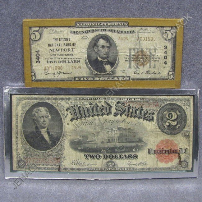 16: LOT (2) US CURRENCY INCLUDING $5.00 LEGAL TENDER