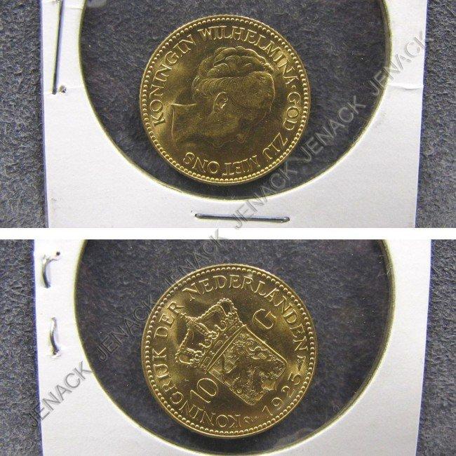 20: NETHERLANDS 1925 10 GULDEN GOLD COIN