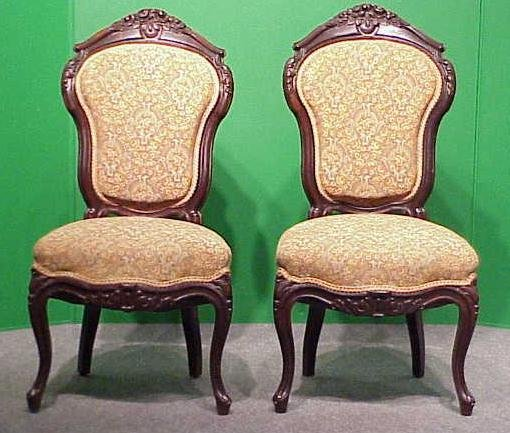 1003: PAIR VICTORIAN CARVED WALNUT SIDE CHAIRS
