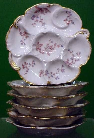 1224: SET (6) LIMOGES DECORATED OYSTER PLATES