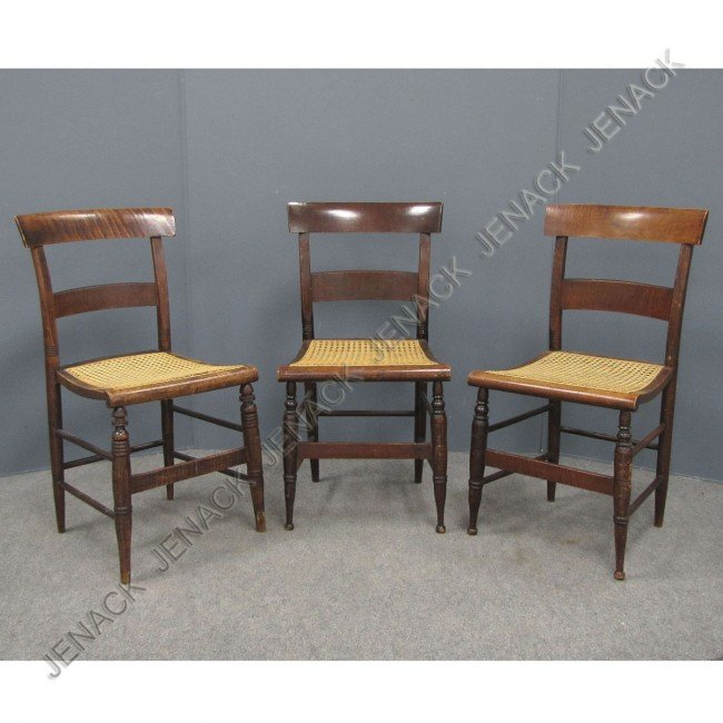 7: LOT (3) FEDERAL TIGER MAPLE SLAT-BACK SIDE CHAIRS