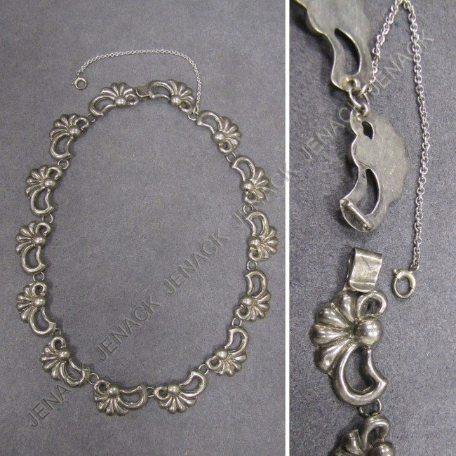 12: MEXICAN STERLING NECKLACE, SIGNED