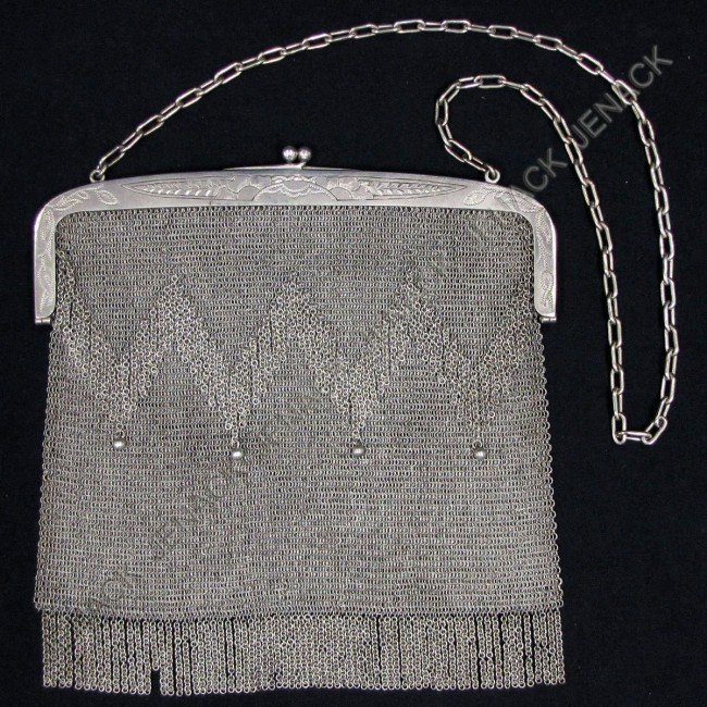 17: POLAND 800 SILVER MESH HAND BAG WITH FRINGE
