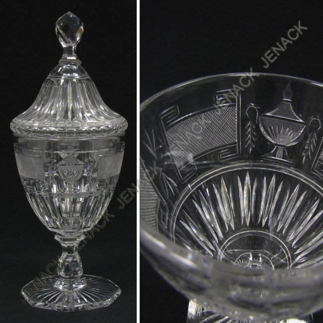 21: FINE GEORGIAN STYLE CUT GLASS COVERED FOOTED JAR
