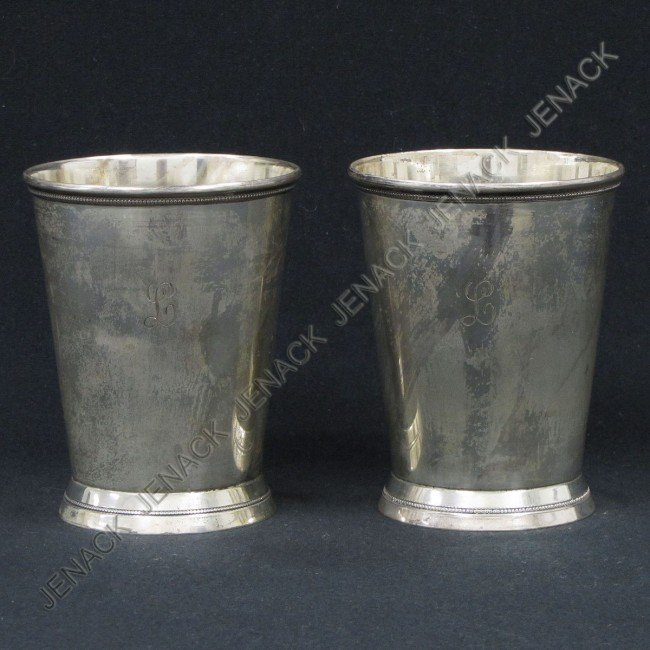 """9: PAIR WALLACE STERLING """"PATRICK HENRY"""" JULEP CUPS"""