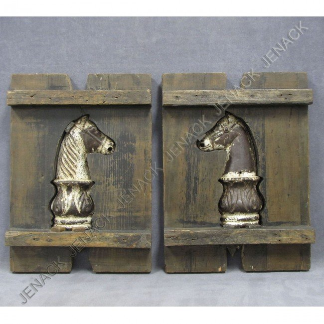 19: PAIR CAST IRON HORSE HEAD HITCHING POST FINIALS