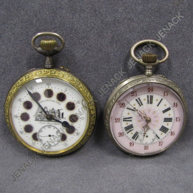 24: LOT (2) OVERSIZED OPEN FACE POCKET WATCHES
