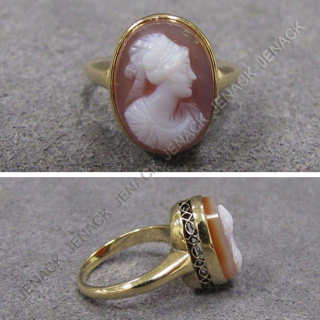 5: ANTIQUE YELLOW GOLD (TESTS 14K) CAMEO RING