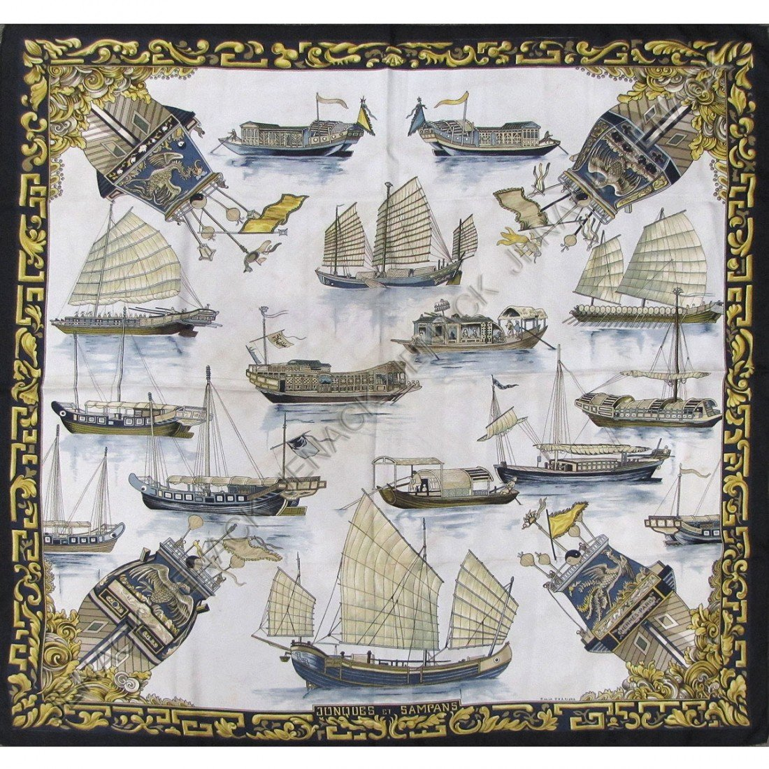 10: HERMES SILK SCARF, SIGNED F. DELA PERRIERE