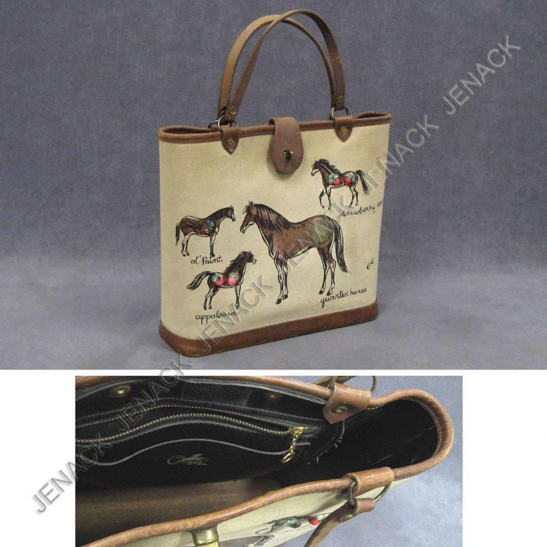 14: VINTAGE HORSE HAND BAG, SIGNED EC (ENID COLLINS)