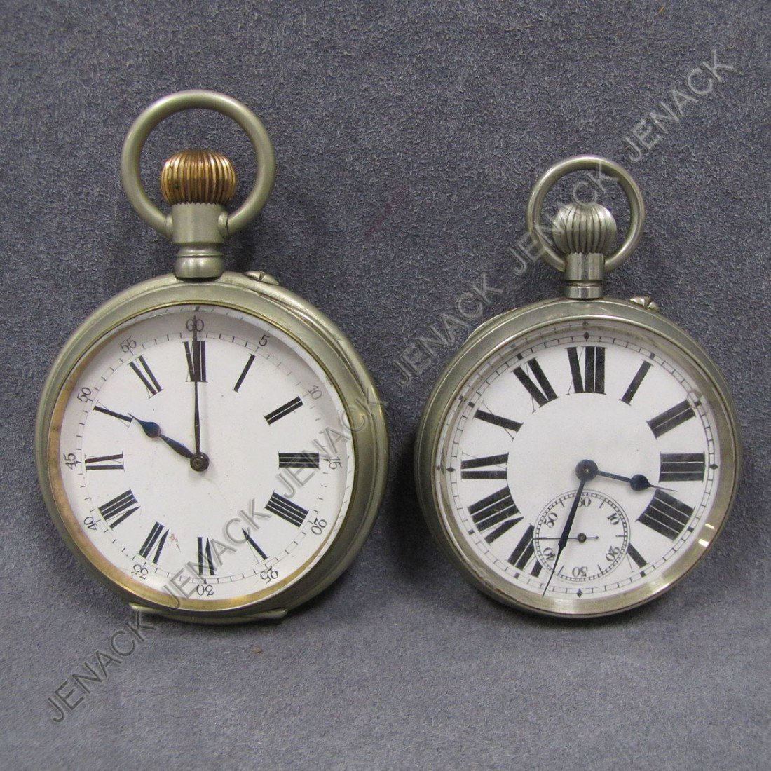 21: LOT (2) VINTAGE SWISS OVERSIZED POCKET WATCHES