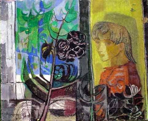 "131: ACRYLIC ON CANVAS, ""WOMAN BY WINDOW"", MANGRAVITE"