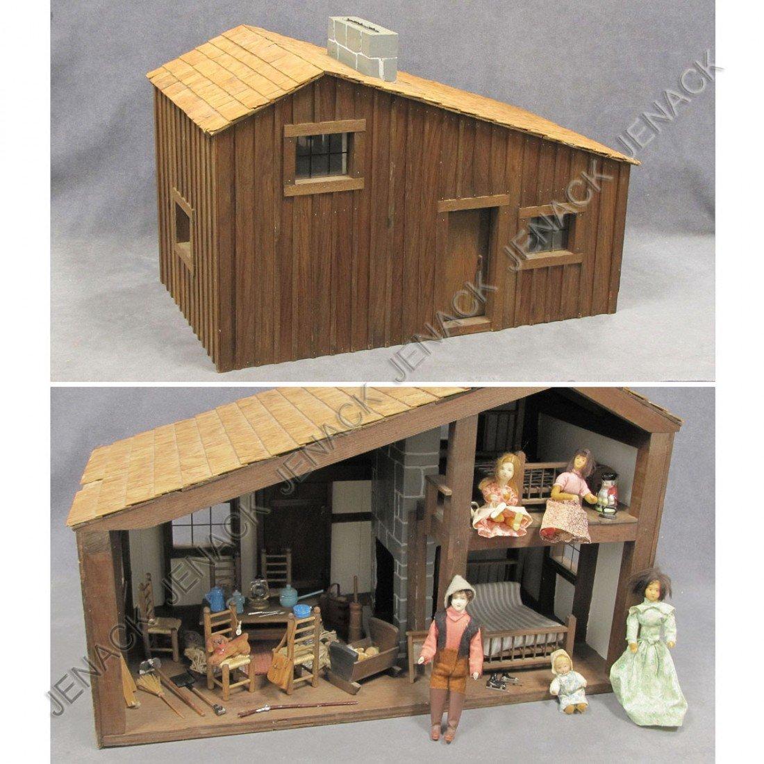 3: VINTAGE RUSTIC CABIN DOLL HOUSE & FURNITURE