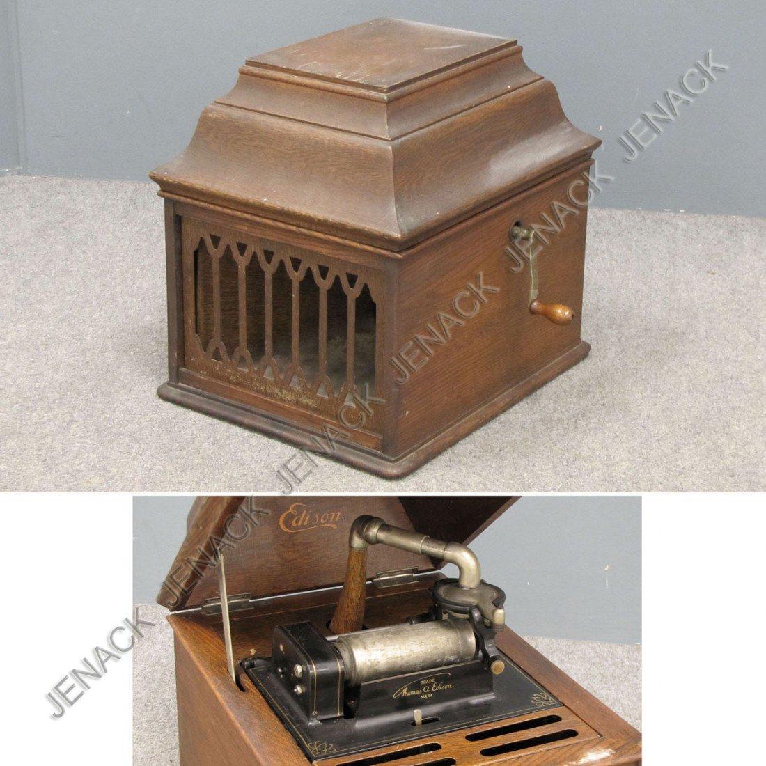 11: EDISON AMBEROLA MODEL VIII OAK CYLINDER PHONOGRAPH